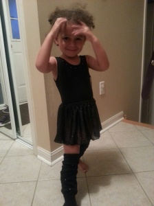 "My ""mini me"" getting ready for jazz class."