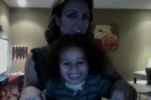 This is how  I blog.  At the kitchen counter with a child in tow.